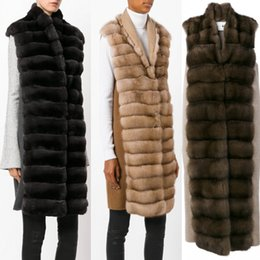 Wholesale Fox Fur Strips - New Fashion Turn-down Collar Fake Fox Fur Jacket Faux Fur Coat Fox Fur Long Vest Fall And Winter Coat For Woman FS3157