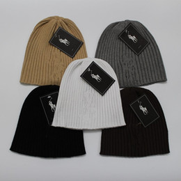 Wholesale Knit Hats Wholesale China - Fashion Unisex Spring Winter Hats for Men women Knitted Beanie Wool Hat Man Knit Bonnet Polo Beanie Gorros touca Thicken Warm Cap Arts