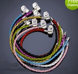 Wholesale 925 Silver Braided Bracelets - Mix Color Free shipping New fashion Vintage 100pcs 925 Silver Braided Leather Bracelet Fit European Beads Bracelets Hot Selling factory pric