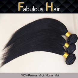 Wholesale Grade 5a Straight Unprocessed Hair - Fabulous Grade 5A 8-30inch Natural Color Silky Straight Remy Unprocessed Cheap Peruvian Human Hair Virgin Hair Bundles Weaving Hair Weft