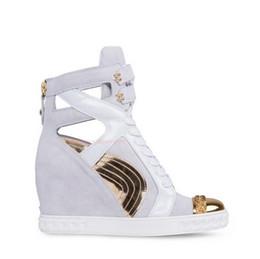 Wholesale Lace Up Wedge Heels - 2015 Genuine Leather Booties Height Increasing Women Sneakers Designer Wedge Heels Women Motorcycle Fashion Sneakers