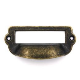 Wholesale Label Frame - Wholesale- 2pcs 82x40mm Label Pull Holder Drawer Handles Frame Cabinet Antique Brass Screws Copper