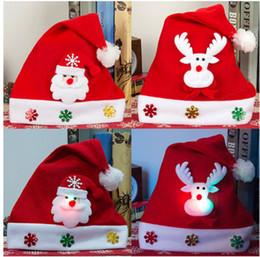 Wholesale Kids Santa Costumes - Xmas Costume Christmas hat Kids Adult LED Christmas Hat Santa Claus Hat Xmas Gifts Cap Kids Accessories