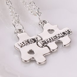 Wholesale Half Pendants - 2016 Hot Selling New Jewelry Best friend necklace pendant Handstamped friends friendship half a person selling exquisite necklace ZJ-0903212