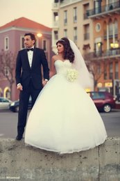 Wholesale Luxurious Wedding Dresses Dubai - 2017 New Arrival Ball Gown Wedding Dresses Dubai Sadek Majed Couture Luxurious Arabic Vestidos Bridal Dresses Ivory Wedding Gowns