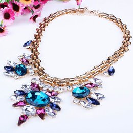 Wholesale Colorful Bubbles Necklace - Colorful Women Bubble Bib Rhinestone Jewelry Statement Charming Chokers Pendants Necklace Wedding Party XL6083*1