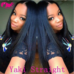 Wholesale New Yaki Hair - 2018 New Arrival!!Top Quality Brazilian Virgin Human Hair Lace Front Wig Yaki Straight Full Lace Wigs for Women Color#1b #1 #2 #4