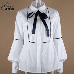 Wholesale Office Wear Blouses - Autumn Female Long Sleeve Slim Shirts Women Office Wear Bow Tie Necktie Lantern Sleeve With Button Lady Elegant Winter Shirt Blouses