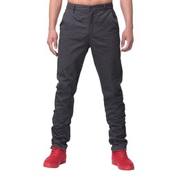 Брюки мужские повседневные брюки chinos онлайн-Wholesale- INCERUN Autumn Spring Mens Casual Business Pants Slim Cotton chinos Trousers Regular Straight Suits Pants Cargo Work Big Size 44