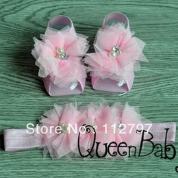 Wholesale Order Baby Sandals - Wholesale-Trail Order Barefoot Baby Sandals with Two Pearl With Rhinestone Tulle Flowers Matching beadband 20pair lot