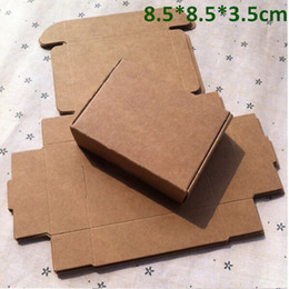Wholesale Wholesale Pearls Crafts - Retail 8.5*8.5*3.5cm Kraft Paper Box Gift Box for Jewelry Pearl Candy Handmade Soap Baking Box Bakery Cakes Cookies Chocolate Package Box