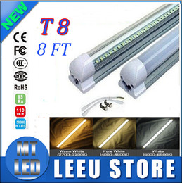 Wholesale 192 Led Cree - Integrated 2.4m 8ft 45W Led T8 Tube Lights SMD2835 192 Leds High Bright light 4800lm Frosted Transparent Cover 85-265V fluorescent lighting