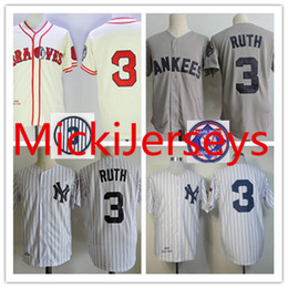 Wholesale Navy Cool - Mens Babe Ruth Throwback Jerseys Stitched white grey navy #3 Babe Ruth retirement Patch Cool Base baseball Jersey S-3XL