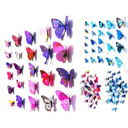 Wholesale Wall Stick Decor - S5Q Wall Stickers 3D Home Decor 12 x Butterfly Art Design Decal Room Decorations AAAEJE
