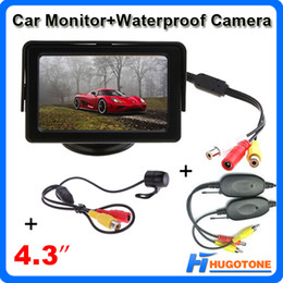 Wholesale Video Monitor System - 4.3 Inch Car Monitor Waterproof Rearview Camera Monitor Mini 2.4GHz Wireless Parking Rearview Camera 2 Videos Input System