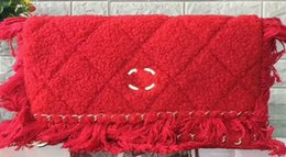 Wholesale Envelope Satchel - Fashion handbags female tassel woolen coarse bag wool satchel Lingjie chain fashion Dinner Bag for women Envelope Casual Bags