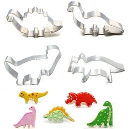 Wholesale Cutter Biscuits - Wholesale- 4Pcs Set Stainless Steel Dinosaur Animal Fondant Cake Cookie Biscuit Cutter Decorating Mold Mould Pastry Baking Tools
