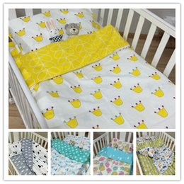 Wholesale Crib Bedding Sets Wholesale - 2016 New Born Baby Bedding Sets 5 Patterns 3pcs Set Babies Kids Infant Quilt Pillow Cover Bed Sheet Set Children Beds Accessory D6268
