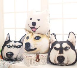Wholesale Toy Huskies Plush - Wholesale-Free Shipping 3D A Car Head Pillow Husky Samoyed God Tired Dog Who Cushion Plush Toys Creative Christmas Birthday Gift