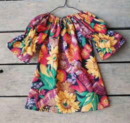 Wholesale Sunflower Dress Girls - Children A-line dresses Baby girls cotton sunflower printed dress kids seven-minute sleeve floral dress Girls princess dress C2288