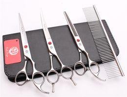 "Wholesale Pet Suit - 4Pcs Suit 7"" JP 440C Purple Dragon Professional Hair Hairdressing Scissors Comb + Cutting Shears + Thinning Scissor + UP Curved Shears Z3002"