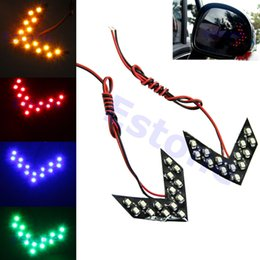 Wholesale Led Turn Signal Arrow Lights - 1pair 14 SMD LED Arrow Panels For Car Side Mirror Turn Signal Indicator Light 4 Colors Free Shipping order<$18no track