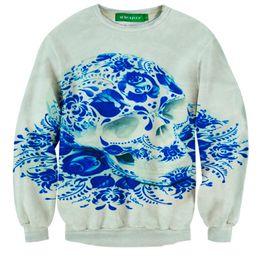 Wholesale Skeleton Hoodie For Men - w1213 Raisevern new funny skull sweatshirt for men women casual hoodies 3D skeleton rose galaxy streetwear caveira rave clothes