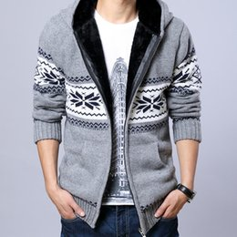 Wholesale Fleece Christmas Jacket - Wholesale-2015 Men Fleece Hooded Knit Sweaters Christmas Snowflake Mens Thick Sweater Zipper Cardigan Jacket 13M0212