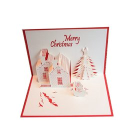 Wholesale paper snowman - Christmas card Greeting Cards 3D paper cutting Castle Christmas tree Snowman Postcard blessing cards Christmas gift 240120