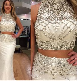 Wholesale Embroidery Dresses For Evening - Gorgeous 2015 High Neck Long Two-Pieces Prom Dresses Sexy Sheath Crystals Long Mermaid Evening Dresses For Prom Dress