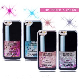 Wholesale Iphone Covers Nail Polish - For iphone 6 plus 3D Nail polish Brand cases Quicksand Liquid Glitter Bling Stars hard PC case cover for iphone 5 5S 6 6 PLUS 5G hot