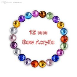Wholesale Acrylic Spikes - Wholesale-12mm Sew On Round Crystal Rhinestone Acrylic Flat Back 2 Holes Strass Stones For Clothing Dress Accessories 1000Pc