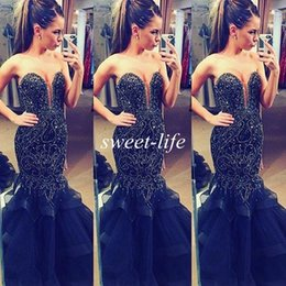 miss usa pageant gowns Coupons - Mermaid Long Prom Dresses 2019 Sexy Luxury Beading Crystals Sweetheart Tiers Tulle Miss USA Pageant Dresses Occasion Evening Gowns