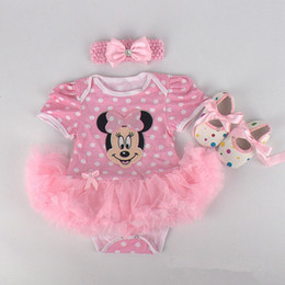 Wholesale Cartoon Minnie Mouse Costume - Baby Girls Halloween Costumes Minnie Mouse Romper Dress + Headband + Shoes Clothing Sets Party Clothes Cartoon Free Ship