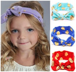 Wholesale Lovely Wholesale Scarfs - New Baby Bow Headbands Girls Hair Accessories Lovely Bunny Ears Hairband Scarf Brozing kids Rabbit Turban Twist Knot Elastic Head Wrap