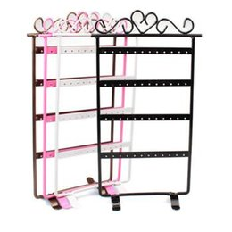Wholesale Jewelry Display Hole - Wholesale-2015 New Hot Sale Fashion 4 Colors 48 Hole Earrings Jewelry Display Rack Metal Stand Holder Showcase Free Shipping&Wholesale