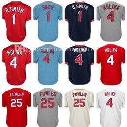 Wholesale Men Dexter - Men's 4 Yadier Molina 1 Ozzie Smith Baseball Jersey Adult 25 Dexter Fowler Retro Jerseys Embroidery 100% Stitched