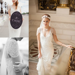 Wholesale Champagne Casual Wedding Dresses - Romantic Casual Style Lace Sheath Wedding Dresses Cap Sleeves Sheer V-neck Sweep Train Beaded SEQUINS Sexy Bodice Bohemian Bridal Gowns