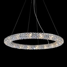 Wholesale Crystal String Cords - RH American Retro Luxury Designer Creative Ring K9 Crystal Pendant Lamp Study Bedroom Restaurant Villas Bead String Chandelier Lights