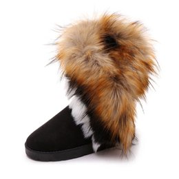 Wholesale Fur Snow Footwear - Suede Women Snow Boots Sewing Slip-On Mid Calf Black Winter Flat Boots Female Faux Fur Warm Flat Shoes Tassels Footwear