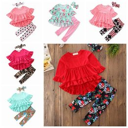Wholesale Childrens Tutu Wholesale - fall baby girl clothes kids boutique clothing sets girls headband ruffle sleeve swallowtails dresses floral leggings pants childrens outfits