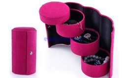 Wholesale Wholesale Travel Jewelry Box - 3 Tier Compartment Mini Velvet Jewelry Ring Bracelet Earring Storage Container Organizer Box Case Holder for Travel