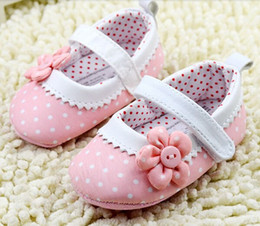 Wholesale Crib Shoes Flowers - 10% off IN STOCK!2015 new arrival!children Princess Pink Flower Dot Baby Shoes Soft Sole Toddler Crib Shoes 3pairs 6pcs Free Shipping!