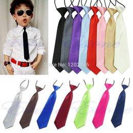 Wholesale Elastic Boy Tie - A96 Free Shipping Fashion School Boys Children Kids Baby Wedding Solid Colour Elastic Tie Necktie A5