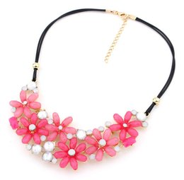Wholesale Candy Color Bead Necklaces - 2014 New Fashion Bubble Bead Drop Jewelry Collar Choker Flower Necklace Candy Color Statement Bijoux Party Jewelry SS9209