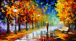 Wholesale oil deck - Free Shipping no frame Canvas Prints Russian Federation Oil Painting The forest path deck chair Umbrella street lamp sea ship sunlight sun