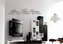 """Wholesale Bless Home Wall Quote - """"Bless This Home"""" English Quote Vinyl Wall Art Decal Window Stickers Home Decor ZYVA-8091"""