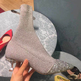 Wholesale Ladies Footwear Boots - Sock wome lady office formal blingbling party strass club footwear diamonds beads ankle short low heel boots Z2205