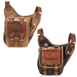 Wholesale Black Military Packs - Ship from USA! Vintage Canvas Leather Messenger Shoulder Bag Military Travel Satchel Bag Backpacks Canvas Leather Back Pack