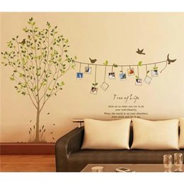 Wholesale Green Leaf Sticker - Photo Frame Bird Tree Removable Wall Art Stickers Vinyl Decals Home Decor